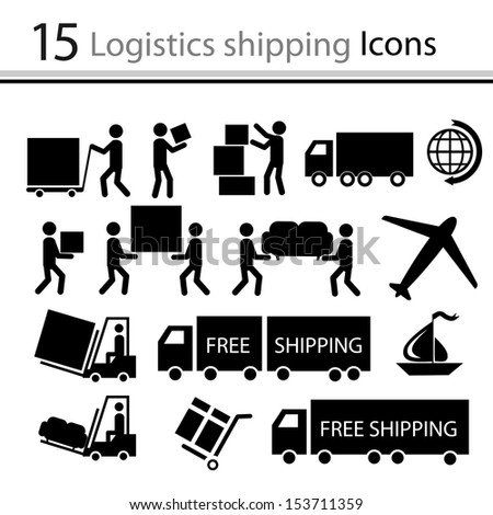 Logistics shipping icons set (vector)