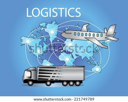 Logistics technology concept,logistics connection on world map vector - stock vector