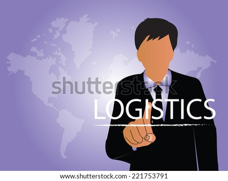 Logistics technology concept,logistics connection on world map vector,a business man point to logistics  - stock vector