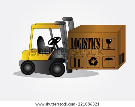 Logistics technology concept,logistics connection on world map vector,forklift - stock vector