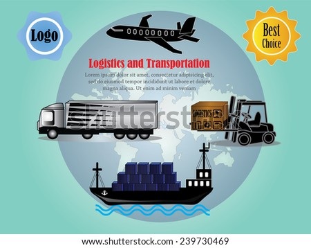 Logistics technology concept, logistics connection on world map vector, logistics  - stock vector