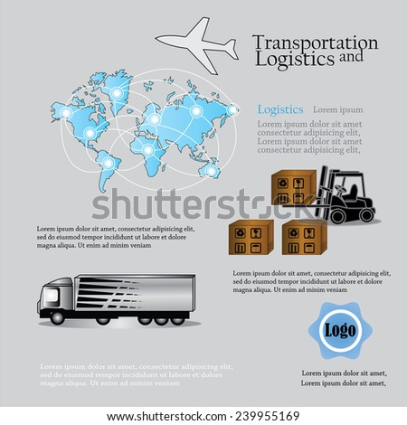 Logistics technology concept, logistics connection with world map, forklift, truck vector - stock vector