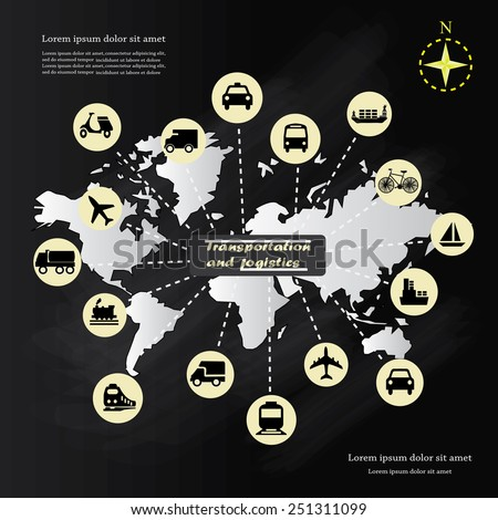 Logistics technology concept on chalkboard,logistics connection on world map vector - stock vector