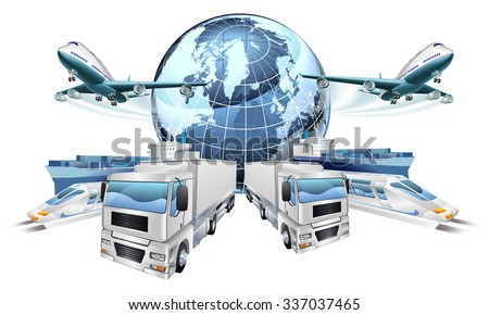 Logistics transport concept of planes, trucks, trains, and cargo ship coming out of a globe - stock vector