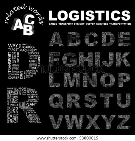 LOGISTICS. Vector letter collection. Wordcloud illustration. - stock vector