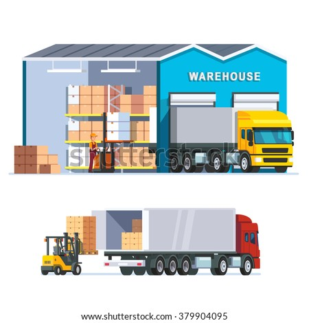 Logistics warehouse with loading truck and working forklift. Modern flat style vector illustration isolated on white background. - stock vector