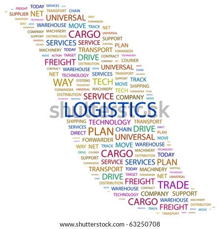 LOGISTICS. Word collage on white background. Illustration with different association terms.