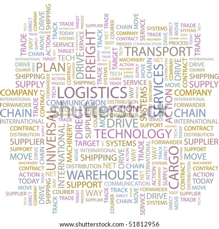 LOGISTICS. Word collage on white background. Vector illustration. - stock vector