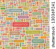 LOGISTICS. Word collage. Seamless illustration. - stock vector