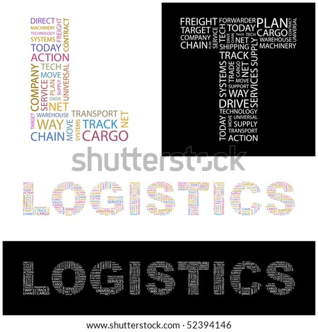 LOGISTICS. Word collage. Vector illustration. - stock vector
