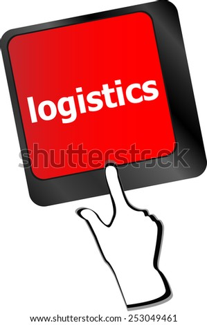 logistics words on laptop keyboard, business concept - stock vector