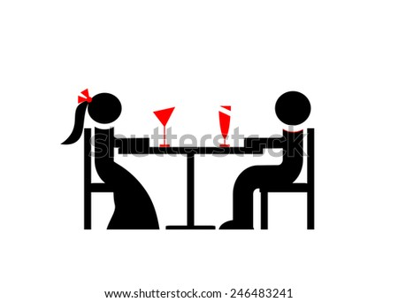 logo. A party, couple at a table and two glasses of wine - stock vector