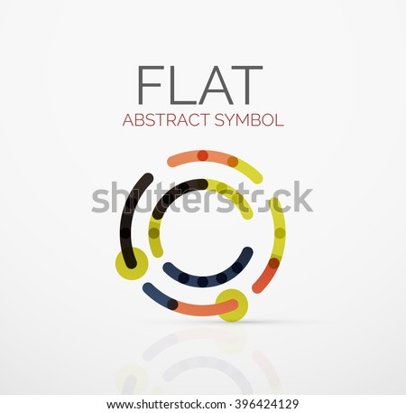 Logo - abstract minimalistic linear flat design. Business hi-tech geometric symbol, multicolored connected segments of lines. Vector illustration - connection concept - stock vector