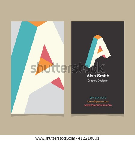 "Logo alphabet letter ""A"", with business card template. Vector graphic design elements for company logo. - stock vector"