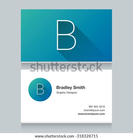 """Logo alphabet letter """"B"""", with business card template. Vector graphic design elements for your company logo. - stock vector"""