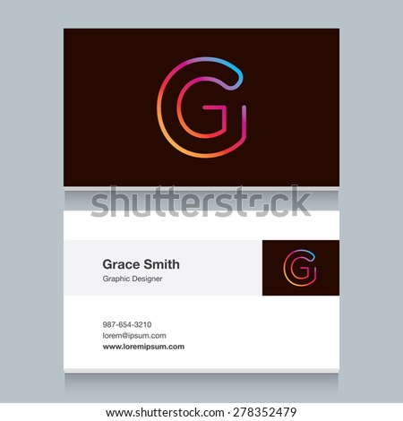 """Logo alphabet letter """"G"""", with business card template. Vector graphic design elements for your company logo. - stock vector"""