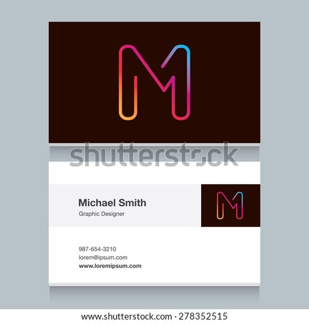 "Logo alphabet letter ""M"", with business card template. Vector graphic design elements for your company logo. - stock vector"