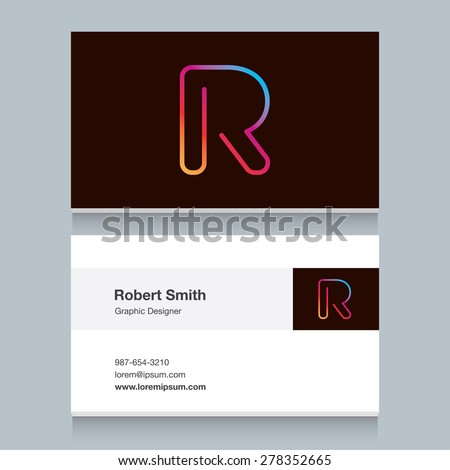 "Logo alphabet letter ""R"", with business card template. Vector graphic design elements for your company logo. - stock vector"