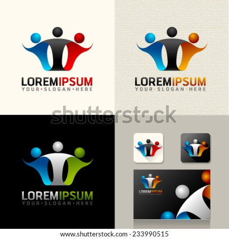 Logo and Abstract web Icon and people vector identity symbol. Unusual icon on business card. Graphic design easy editable for Your design.  - stock vector