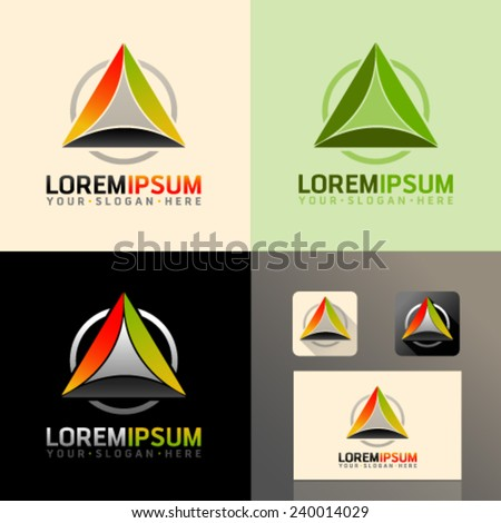 Logo and Abstract web Icon and triangle vector identity symbol. Unusual icon on business card. Graphic design easy editable for Your design.  - stock vector