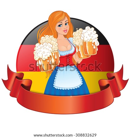 Logo Bavarian girl with beer