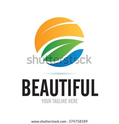 Logo Beautiful Nature Icon Element Template Design Logos - stock vector