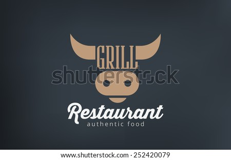 Logo Beef Grill BBQ restaurant bar design vector template. Barbecue Logotype Cow Head icon silhouette concept.  - stock vector