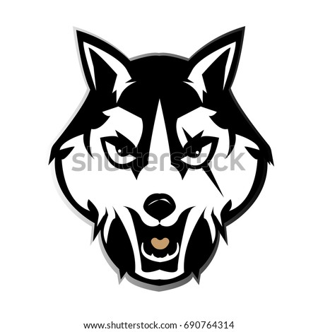 logo black wolf background white logo black stock vector royalty