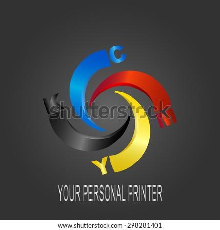 Logo CMYK Print concept design. Your personal printer. - stock vector