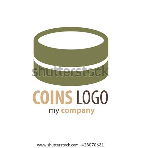 Logo Coins  brown color - stock vector
