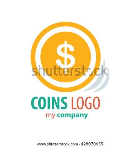 Logo Coins vector yellow color - stock vector