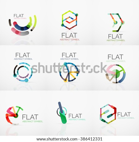 Logo collection - abstract minimalistic linear flat design. Business hi-tech geometric symbols, multicolored segments lines - stock vector