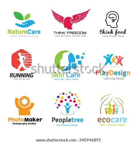 Logo collection,logo set,people logo,idea logo,kids logo,photography,spa logo,yoga logo,healthy logo,beauty logo,eco logo,care,yoga logo,school logo,brain, inspiration,education  logo template - stock vector