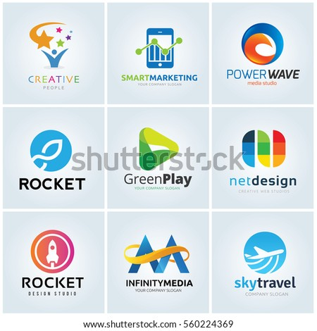 logo collection set creative idea smart marketing media studio rocket green play design infinity travel ticket template.
