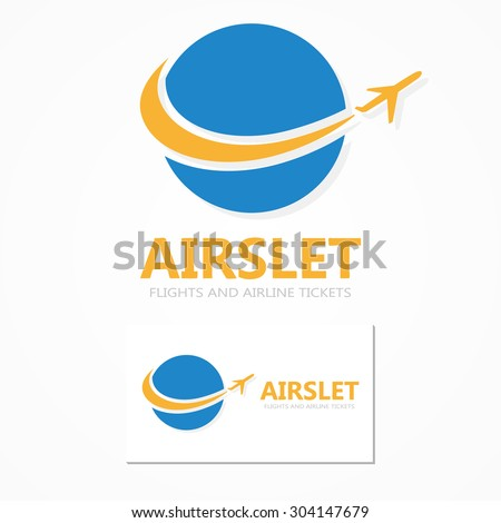 Logo combination of a globe and airplane - stock vector