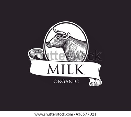 Logo Cow in a Cameo with Ribbons. Cow Vector Illustration. Cow illustration in Vintage Engraving Style. Grunge label for milk. Sticker depicting Cow. Isolated. Eps10 illustration - stock vector