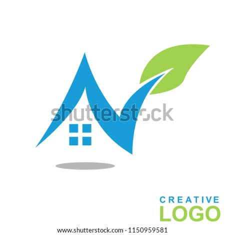Logo Creative Home Property Concept with color green, blue