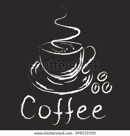 Logo - cup of coffee. Isolated on black - stock vector