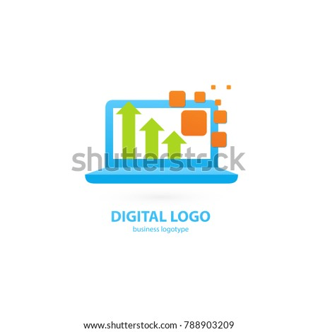 Logo design abstract digital technology vector template. Illustration design of logotype business web marketing. Vector computer web icon.