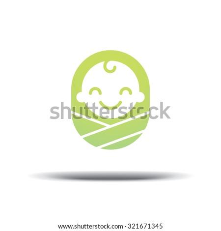 Logo design baby, cheerful joyful kid - stock vector