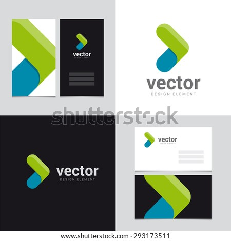 Logo design element with two business cards template - 27 - Vector graphic design elements for brand identity.  - stock vector
