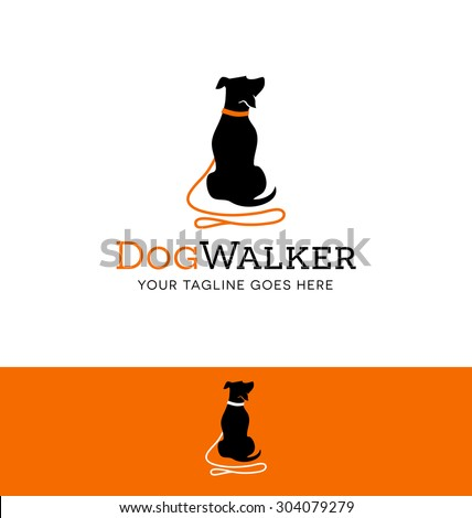 logo design for dog walking, training or dog related business - stock vector