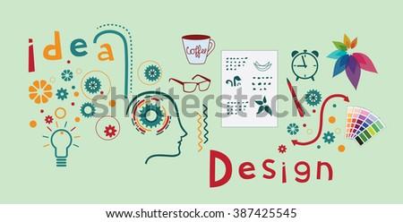 Logo design process - stock vector