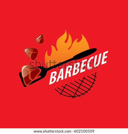 logo design template for a barbecue. Vector illustration on red.