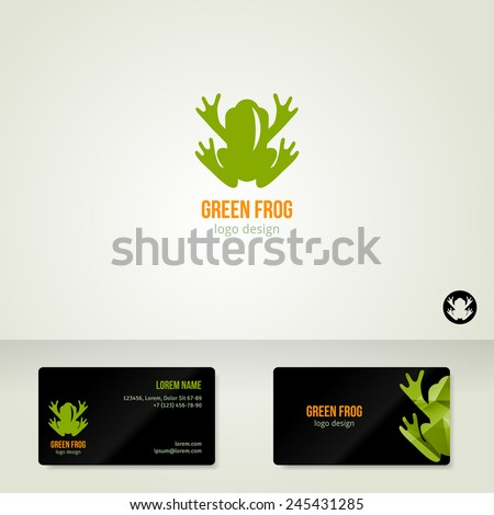 Logo design with green frog. Vector illustration. Business cards template. Ecological theme. Save the Earth symbol.  - stock vector