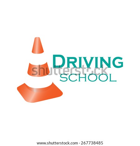 Logo driving school. Colorful vector