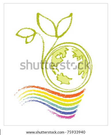 Logo - Eco / Environmental Theme (Earth, rainbow and a little plant) - stock vector