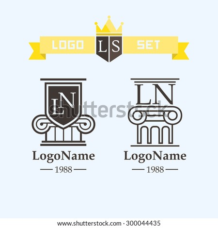 logo element column or on the protection of lawyer - stock vector