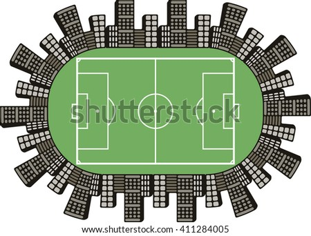 logo football field football team, the stadium is surrounded by houses and town buildings in vector
