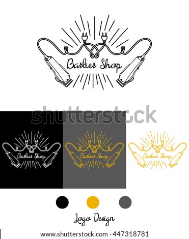 Logo for barbershop, hairdresser, beauty salon. Clippers and inscription. Vector illustration